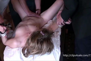 Thin young woman bound up, slapped and..