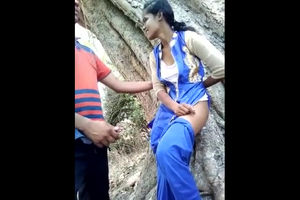Indian young lady duo drilling in jungle