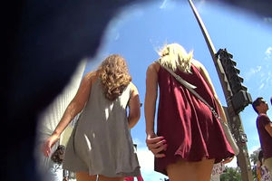 Fabulous upskirt  with 2 cool little..